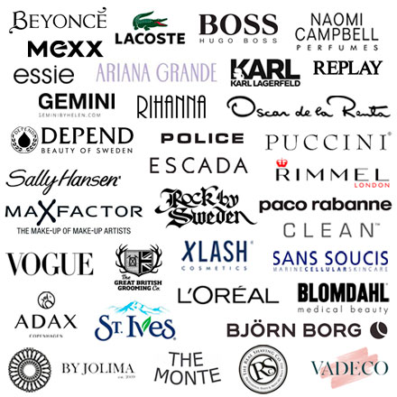 Hos Parfymeri Chic finns varor från erkända varumärken som t.ex. Beyoncé, Mexx, Rihanna, Karl Lagerfeld, Police, Lacoste, Escada, Boss, Max Factor, Depend, Vogue, Rock of Sweden, Gemini, Lotta Design, Blomdahl, The Great British Grooming Co, The Real Shaving Co, Adax, The Monte, Boxca, Björn Borg.